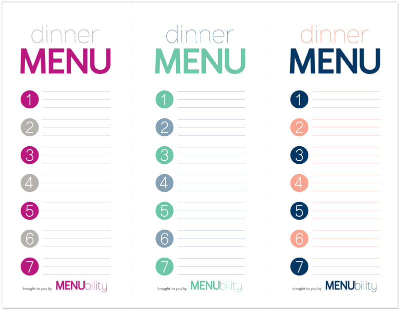 printable blank menu - free download